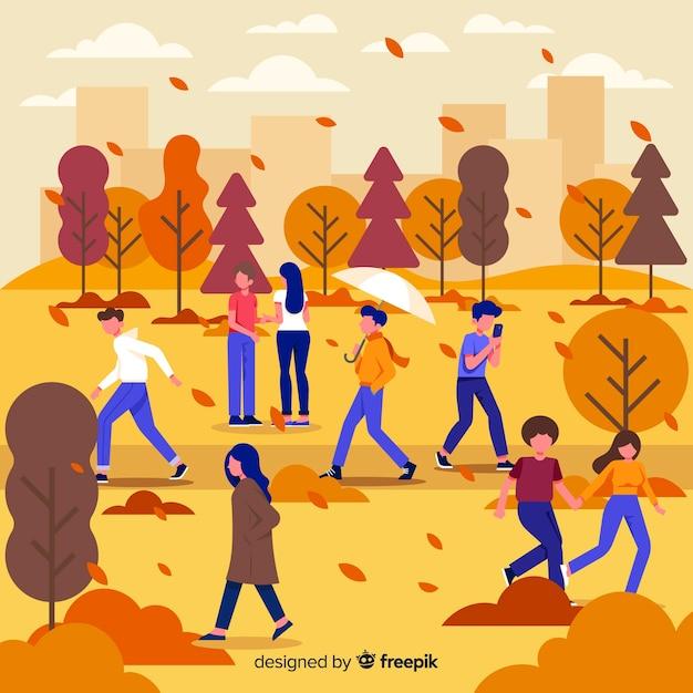 Automne d'activités saisonnières dans l'illustration du parc Vecteur gratuit