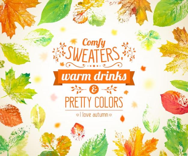 Automne fond avec lettrage et aquarelle dessinés à la main feuilles d'automne Vecteur Premium
