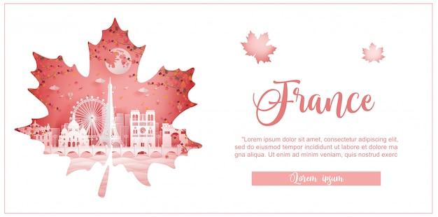 Automne en france avec concept de saison pour carte postale, affiche, publicité de voyage Vecteur Premium