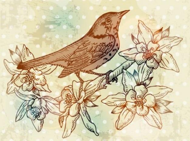 Automne Oiseau Fleur Art Vecteur Ensemble Vecteur gratuit