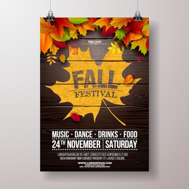 Automne party flyer illustration avec la chute des feuilles et la conception de la typographie sur bois vintage Vecteur Premium
