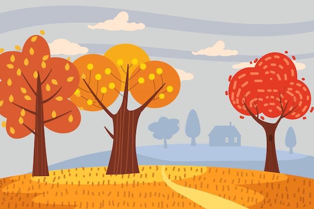 Automne paysage arbres jaune rouge orange couleur chute Vecteur Premium