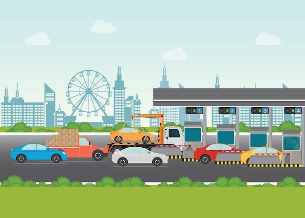 Les Automobilistes Passent Pour Payer Le Péage Sur Le Péage Routier Vecteur Premium