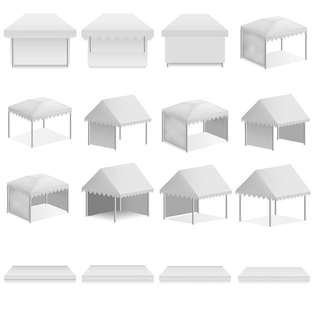 Auvent hangar surplomb maquette de l'auvent. illustration réaliste de 16 maquettes d'auvent surplombant la canopée pour le web Vecteur Premium