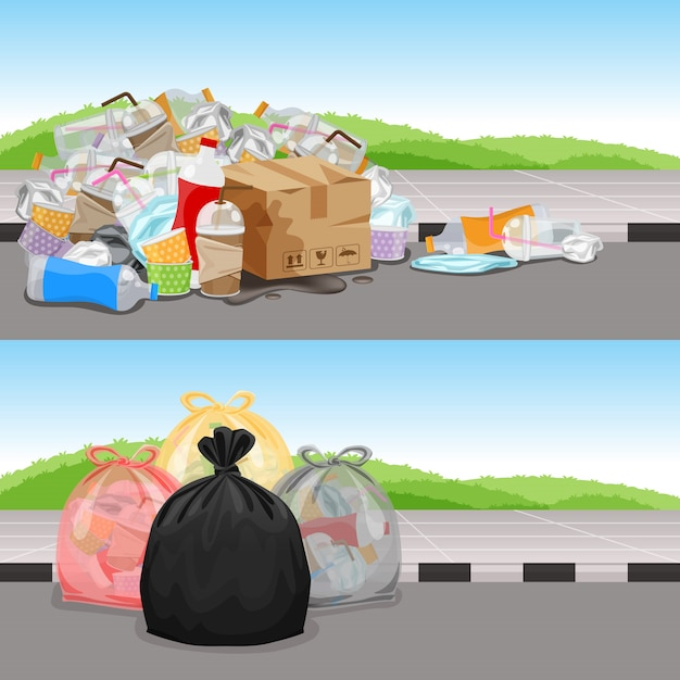 Avant et après le concept de séparation des déchets de nettoyage, sacs à ordures en plastique Vecteur Premium