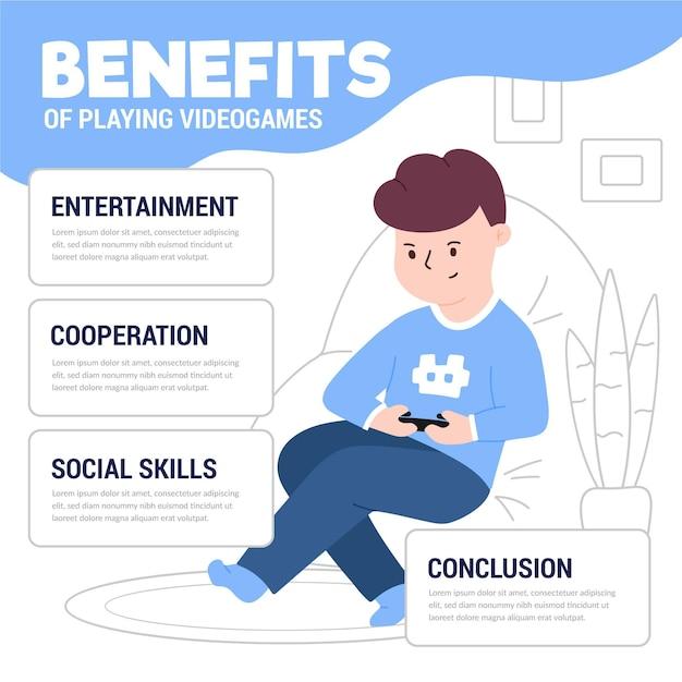Avantages De Jouer à Un Modèle De Jeux Vidéo Avec Un Joueur Vecteur gratuit