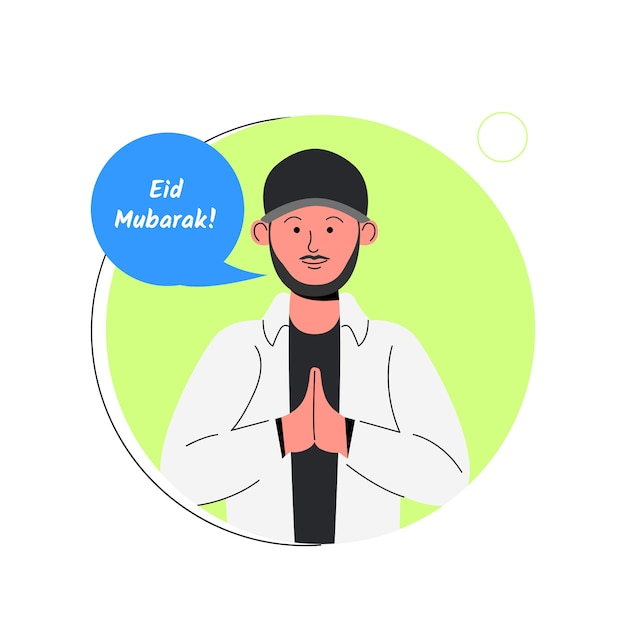Avatar casual homme barbu eid mubarak cartoon Vecteur Premium