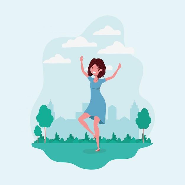 Avatar fille sautant dans le parc Vecteur gratuit