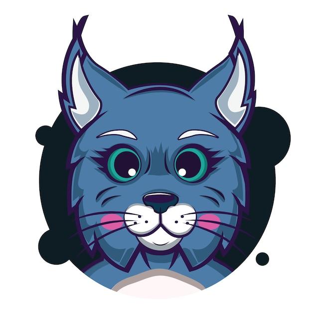Avatar grosse tête de lynx Vecteur Premium