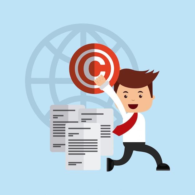 Avatar de l'homme d'affaires avec la notion de droit d'auteur Vecteur Premium