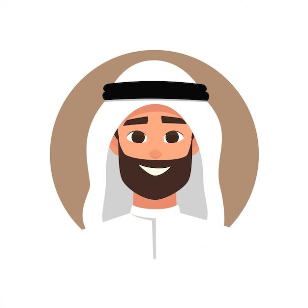 Avatar De L'homme Arabe De Dessin Animé Avec Une émotion Heureuse Vecteur Premium