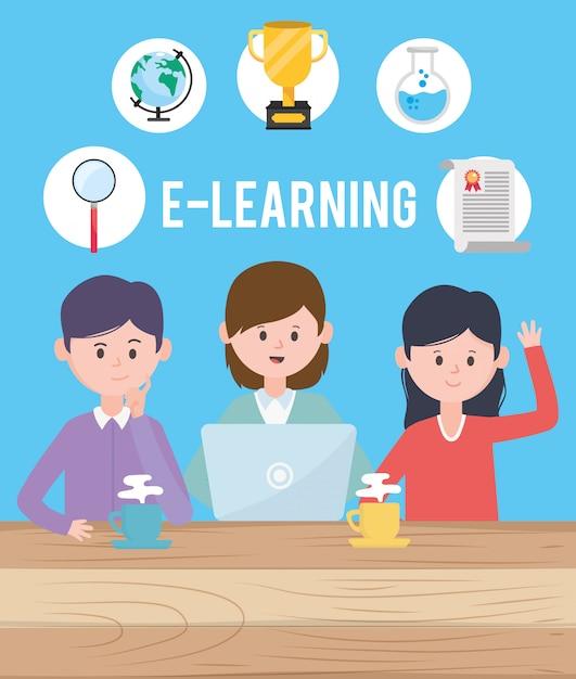 Avatar homme et femme design, apprentissage en ligne téléchargement lecture lecture électronique technologie de la technologie numérique et thème de l'éducation Vecteur Premium