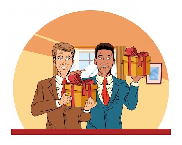 Avatar hommes avec boîte cadeau pop art Vecteur gratuit