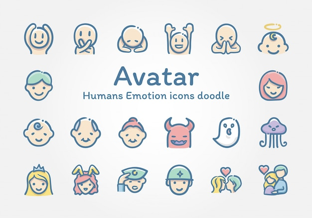 Avatar humans emotion icônes doodle Vecteur Premium