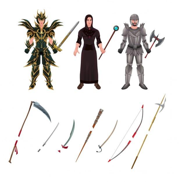 Avatar médiéval avec des armures et des armes isolé objets vecteur illustrateur Vecteur gratuit