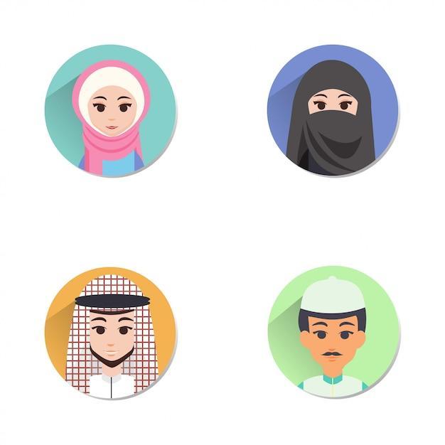 Avatar musulman Vecteur Premium