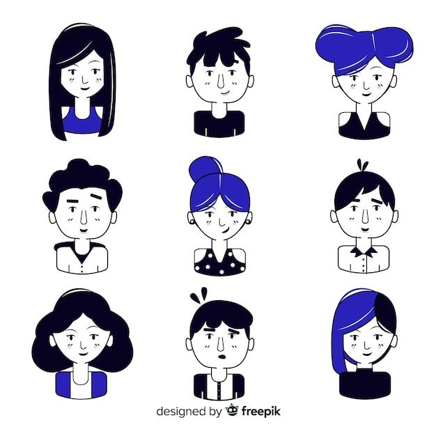 Avatar des personnes dessinées à la main noir et bleu Vecteur gratuit