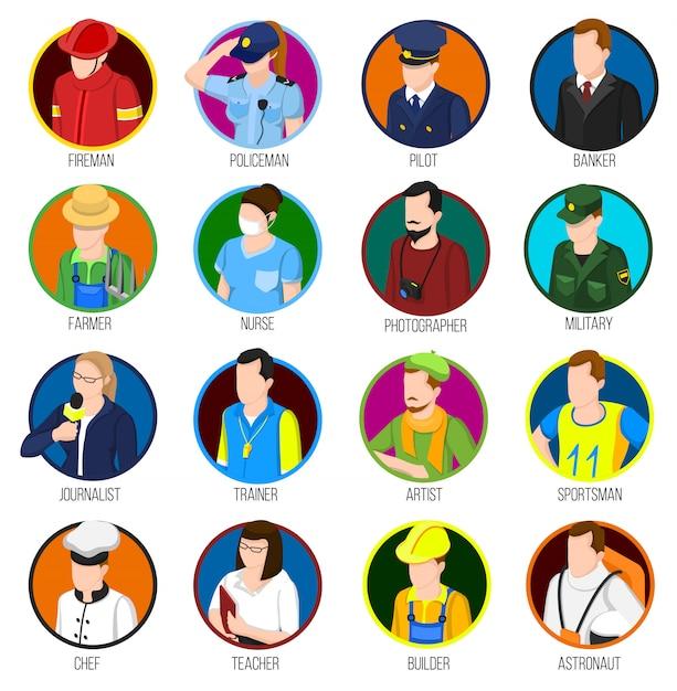 Avatar professions icon set Vecteur gratuit