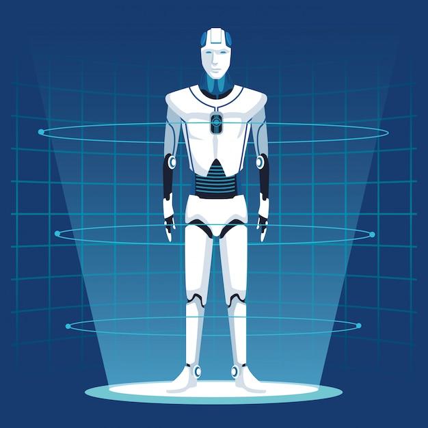 Avatar robot humanoïde Vecteur Premium