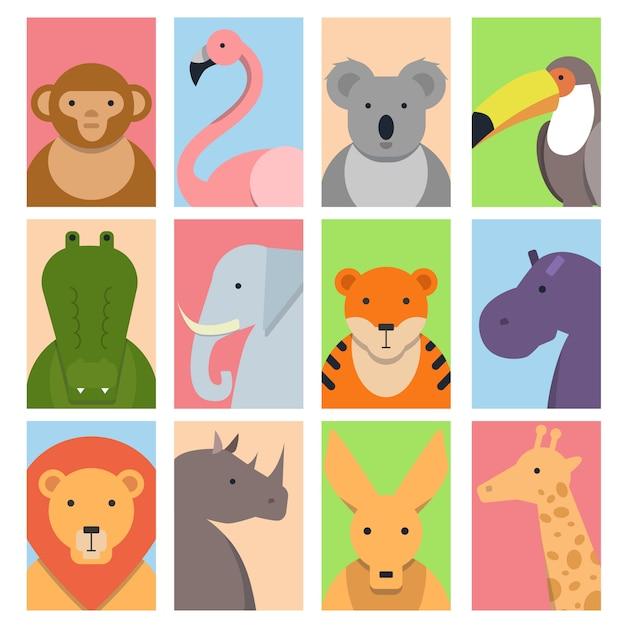 Avatars carrés mignons avec des animaux sauvages Vecteur Premium
