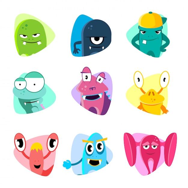 Avatars de dessin animé mignon et icônes. jeu de vecteur de visages de monstre Vecteur Premium