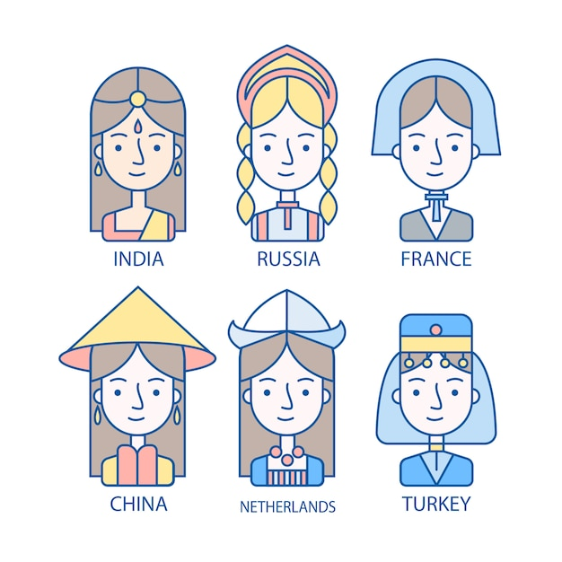 Avatars De Différentes Nationalités Vecteur gratuit