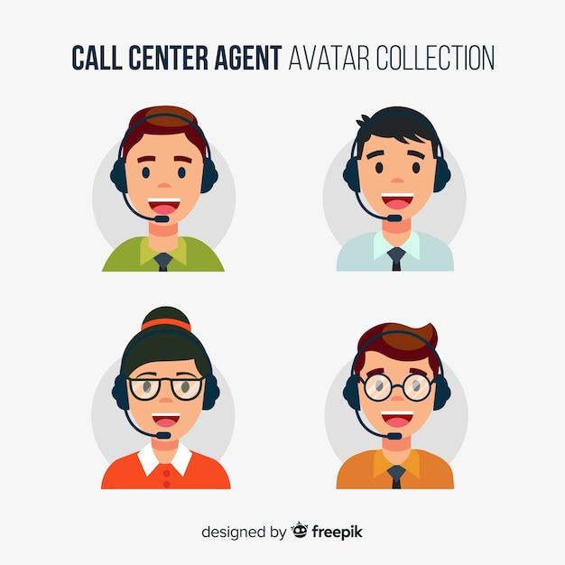 Avatars du centre d'appels en style plat Vecteur gratuit