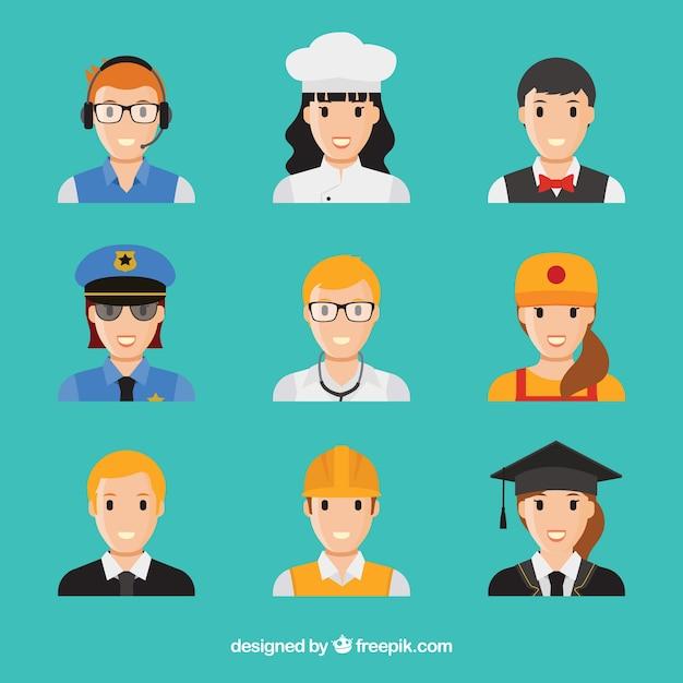 Les Avatars D'emplois Avec Le Visage Souriant Vecteur gratuit