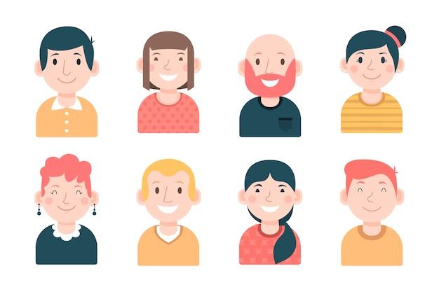 Avatars De Gens Smiley Colorés Vecteur gratuit