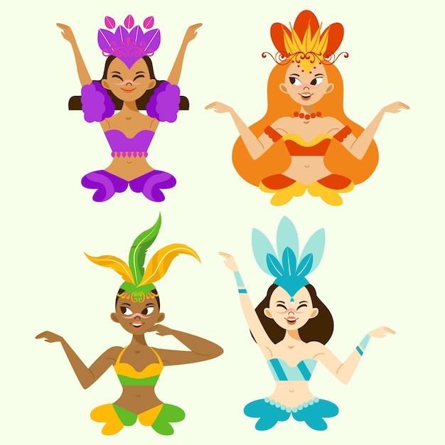 Avatars De Personnages De Belles Femmes Danseuses Vecteur gratuit