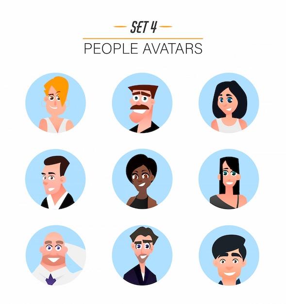 Avatars De Personnages Dans Un Style Plat De Dessin Animé. Vecteur Premium