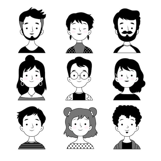Avatars De Personnes Design Noir Et Blanc Vecteur gratuit