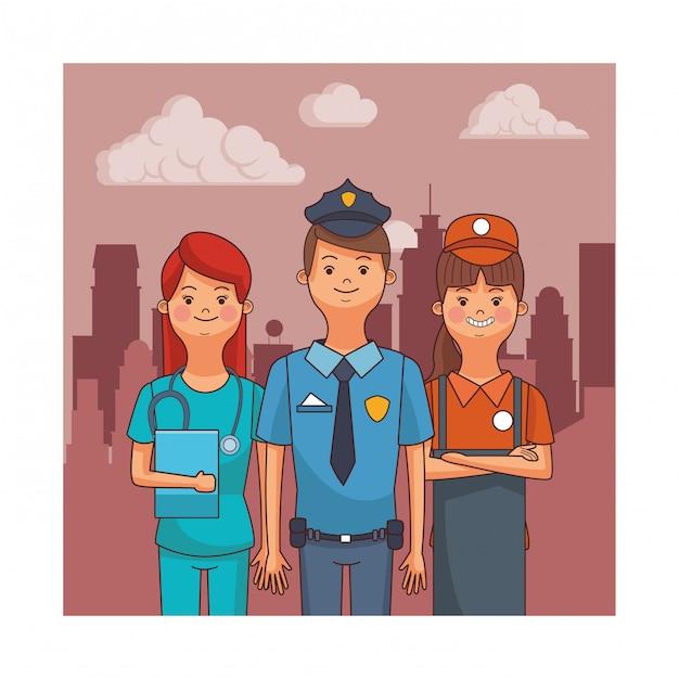 Avatars de profession et d'occupation Vecteur Premium