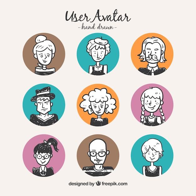 Avatars Des Utilisateurs De Tirage à La Main Avec Des Cercles De Couleur Vecteur gratuit