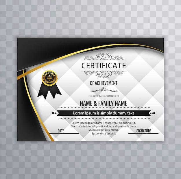Avec formes ondulées noires, conception de certificat moderne Vecteur gratuit
