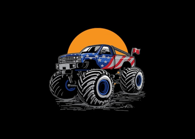 Aventure Hors Route Monster Truck Illustration Vecteur Premium
