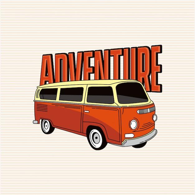 Aventure avec van Vecteur Premium