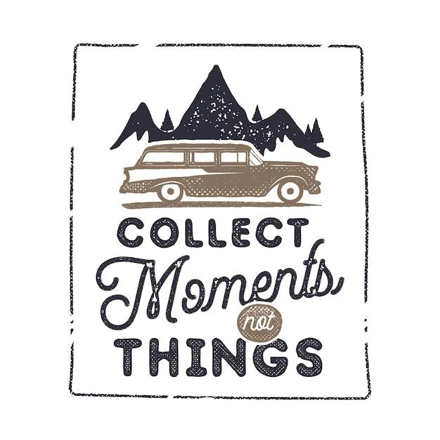 Des aventures sur la route avec des montagnes, une voiture et une phrase - imprimez des moments inoubliables Vecteur Premium