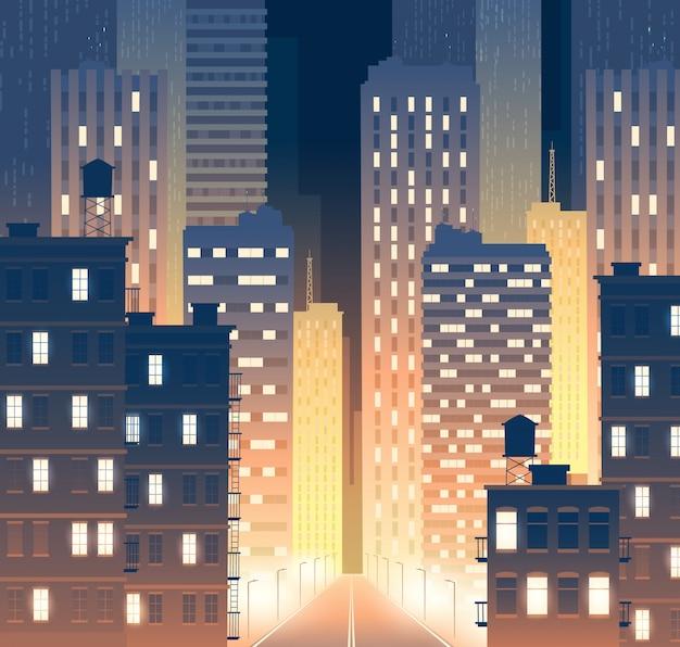Avenue avec des bâtiments modernes dans la nuit. fond de route avec lampadaires Vecteur gratuit