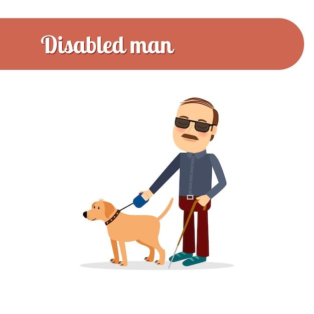 Aveugle avec chien Vecteur Premium