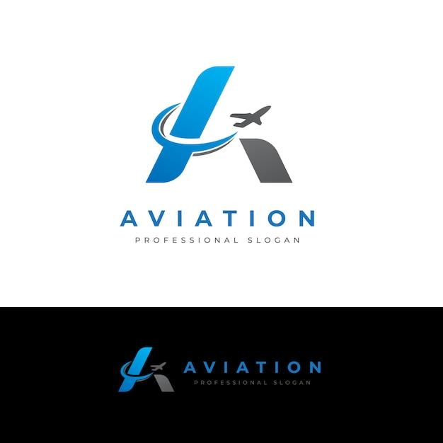 Aviation une lettre logo Vecteur Premium