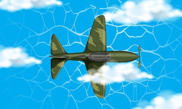 Avion de l'armée sur le ciel Vecteur gratuit