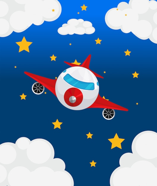 Un avion au ciel Vecteur gratuit