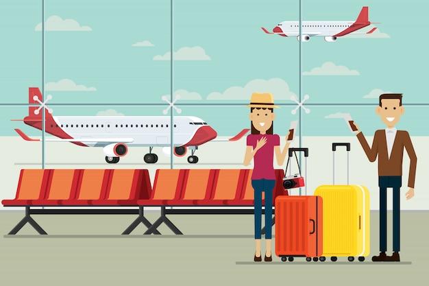 Avion aux arrivées de l'aéroport et les gens homme et femme avec valises, illustration vectorielle Vecteur Premium