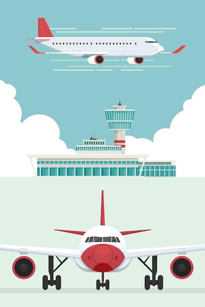 Avion Aux Arrivées Et Départs De L'aéroport Vecteur Premium