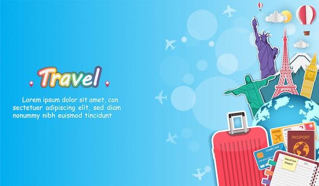Avion et bagages voyagent à travers le concept du monde. Vecteur Premium