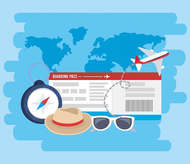 Avion avec billet et chronomètre pour des vacances d'aventure Vecteur Premium