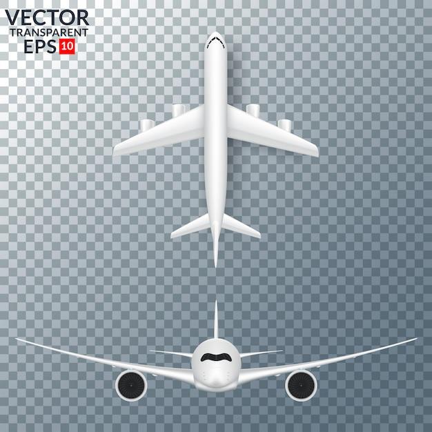 Avion blanc avec ombre définie illustration vectorielle isolé Vecteur Premium
