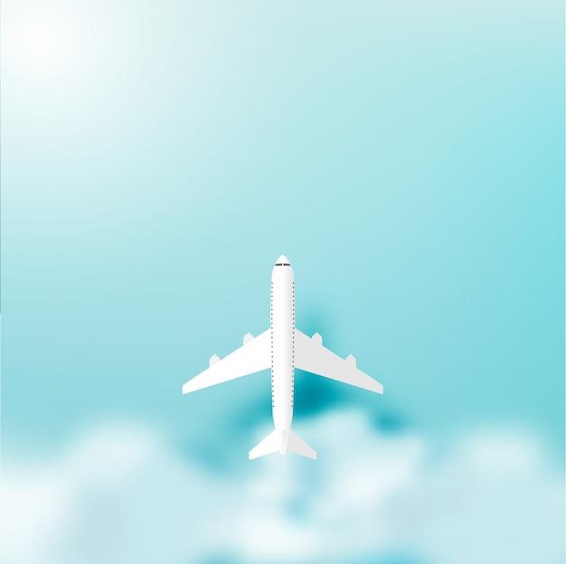 Avion sur ciel avec illustration vectorielle de fond océan Vecteur Premium