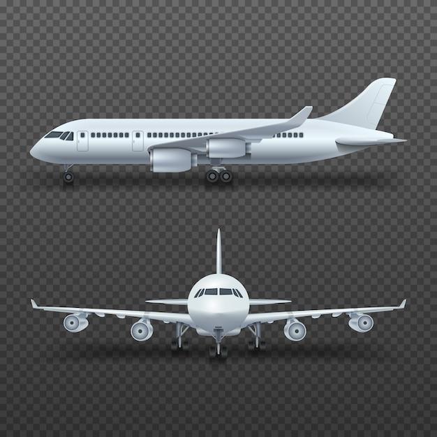 Avion de détail 3d réaliste, illustration isolée de jet commercial. Vecteur Premium